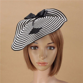 Women Straw Arrow Fascinator Cocktail Saucer Hat Party Wedding Headpiece Cap