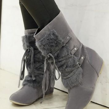 New Women Grey Round Toe Flat Within The Higher Fur Patchwork Casual Mid-Calf Boots