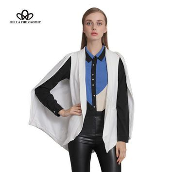 PEAPGB2 Bella Philosophy 2016 autumn winter wine red navy blue white black new women's shawl blazer cape jacket