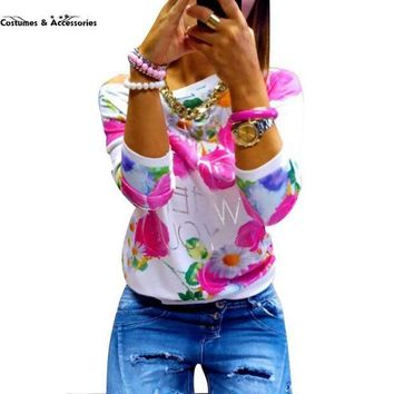 PEAPGC3 2016 Fashion Autumn Women Girl Long Sleeve Floral Print T Shirts Crew Neck Casual Tops