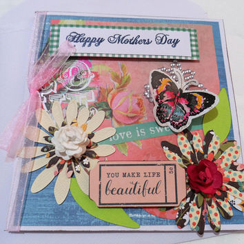 Cards 3 dimensional - Mothers day Card  Mixed Media Cards - Handmade Cards - Made in Australia - unique cards - Happy Mothers Day Card