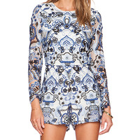 Alexis Rilay Chambre Embroidered Romper in Blue