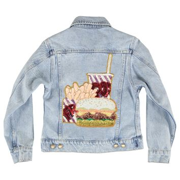 burger, fries, fast, food, applique, sequins, patch, denim, jacket, cute, soda, custom, clothing, women's, casual,