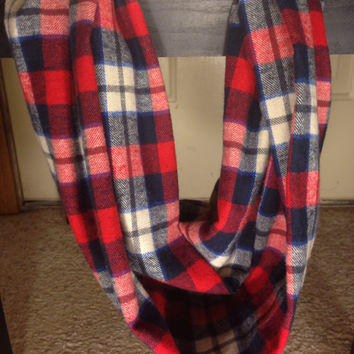 Women's-Plaid Scarf-Infinity Scarf-Flannel-Winter-Chunky Scarf-Gifts for Her-Patriots Scarf-New York Giants-Mommy and Me Scarf-Toddler Scarf