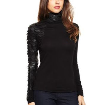 GRACIA Black Long Sleeve High Neck top with Faux Leather Trim