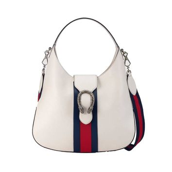 Gucci Women's White Dionysus Leather Blue/Red Web Strap Hobo Bag 446687