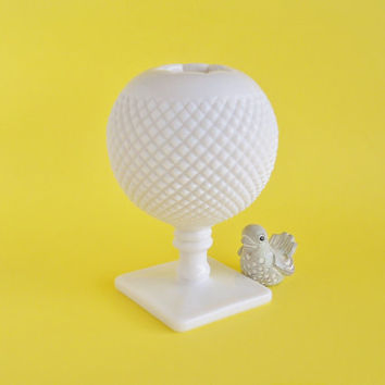 Milk Glass Ivy Ball English Hobnail Pedestal Vase
