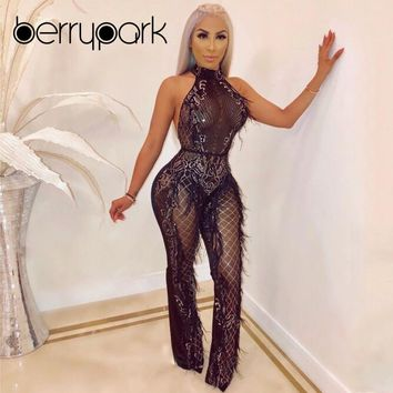 BerryPark High Fashion Women Sequins Jumpsuit 2019 Sexy Mesh Feathers Tassel Romper Birthday Party Bodycon Overalls ping
