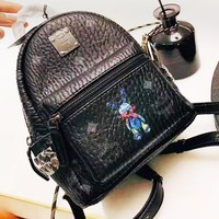 MCM fashion hot selling black printed ladies casual small backpack