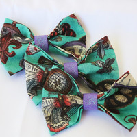 Vibrant Steampunk Clip-On Bow