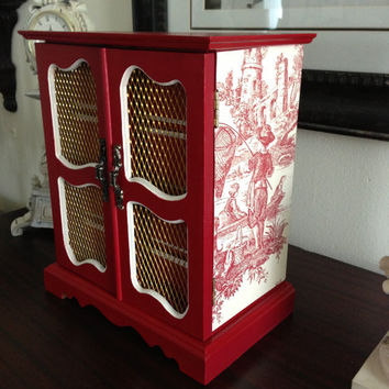 Antique Musical Upcycled Jewelry Box Hand Painted And Decoupaged Farmhouse Red Toile