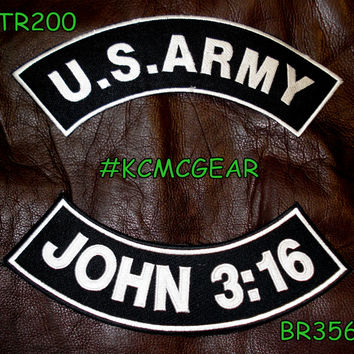 Military Patch Set U.S. Army John 3:16 Embroidered Patches Sew on Patches for Jackets