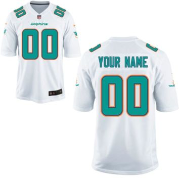 KUYOU Miami Dolphins Jersey - Men's White Custom Game Jersey