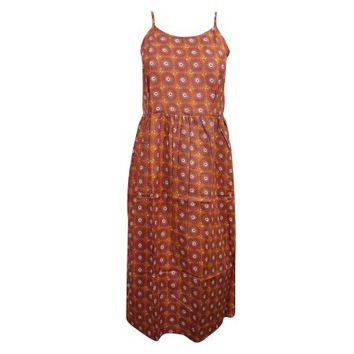 Mogul Women Beach Dress Orange Printed Strappy Resort Summer Sundress - Walmart.com