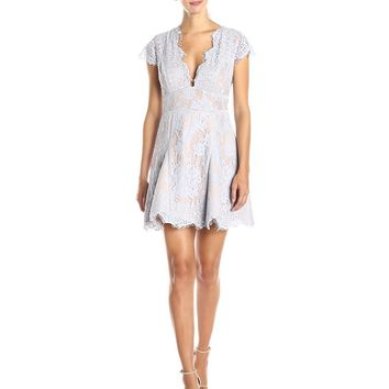StyleStalker Women's Visions V-Neck Lace Skater Dress