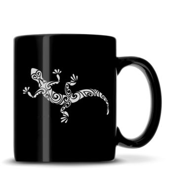 Premium Coffee Mug, Gecko Design, 12oz (Black)