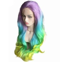 Pastel Purple Blue Green Yellow Rainbow Hair Synthetic Lace Front Wig