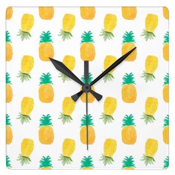 Tropical Hawaiian Watercolor Pineapple Patterned Square Wall Clock