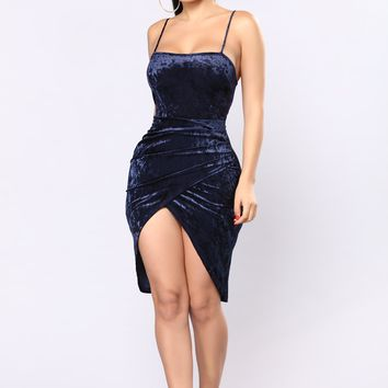 Anita Velvet Dress - Navy