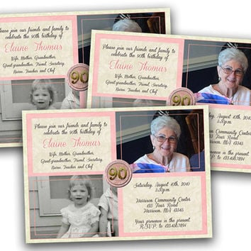 Rose Pink Adult Birthday Party Invitations for Woman - 90th 80th 70th 60th 50th - Then and Now Photo Invitation - Birthday Invites - Lady