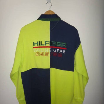 15% OFF Sale Rare Vintage TOMMY HILFIGER Sailing Gear Color Block Long Sleeve