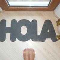 HOLA door mat. Hello in Spanish. Welcome mat. Home decor. Customizable