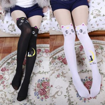 Anime Sailor Moon Luna Cat Stockings Lolita Printed Pantyhose Over Knee Socks