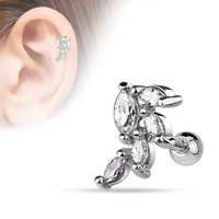 Marquise CZ Cluster Vine Surgical Steel Cartilage Tragus Bar Helix Body Jewelry 316L Surgical Steel 16ga