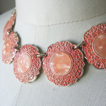 Coral Aluminum Necklace Bracelet Set, Medallions, Lucite Inset, Scalloped Edges, Goldtone, West Germany, 1960's, Enamel, Pink Orange