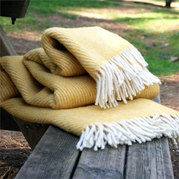 Yellow Cream Striped Wool Blanket 100 Pure Sofa Throws Warm