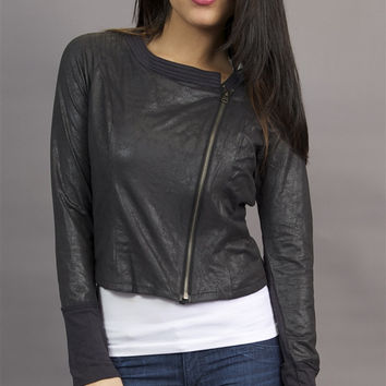 Miilla Faux Leather Crop Shirt Jacket in Black
