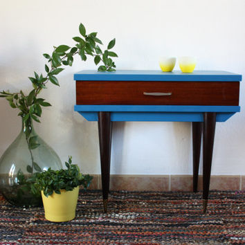 Bedhead vintage 60's, Night table, Pedestal table, peacock blue