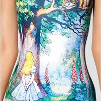 Alice In Wonderland+Grinning Chesire Cat Digital Print One Piece Swimsuit