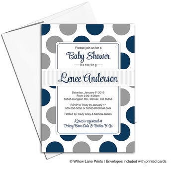 Navy baby shower invitations boys | unique baby shower invites | printable or printed - WLP00754