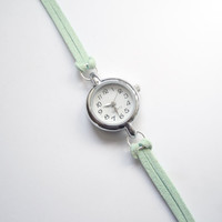 Pastel Mint Green Suede Bracelet Watch by JoliJoliJewelry on Etsy