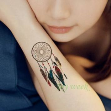 Waterproof Temporary Tattoo sticker body art dreamcatcher dream catcher tatto stickers flash tatoo fake tattoos for girl women 4