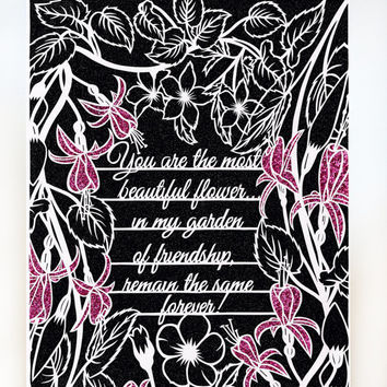 Friend Card - Papercut Art Print - Folded Card - Quote Art