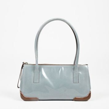 "Prada Blue & Brown ""Vernis + Gomma"" Patent Leather Satchel Bag"