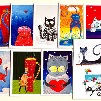 Blank Greeting card set of 10 Happy Birthday card Set of cards Artbyasta Greeting cards Blank cards Art cards Stationary set Funny cards
