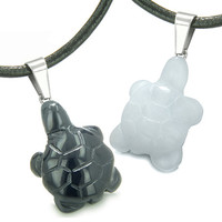 Turtles Best Friends Amulets Positive Energy Black Agate White Quartz Pendant Necklaces