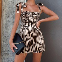 Fashion Sexy Suspender Printed Dresses