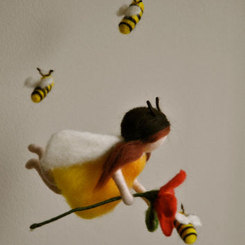 Children Mobile Waldorf inspired needle felted : Bees  fairy with red flower (made to order)