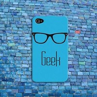 Cute Glasses Case Funny Nerd Dork GEEK Rubber iPod Cover iPhone Teal Blue Phone