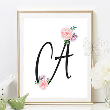 Nursery printable monogram letter A print baby A print gift baby room nursery wall art for baby nursery wall art nursery decor baby art