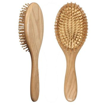 1PC Natural Wood Paddle Brush  health care massage hair comb anti - static decoupling airbag hair styling Wooden Massage Comb J7