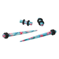 Acrylic Hibiscus Pink & Blue Micro Taper And Plug 4 Pack