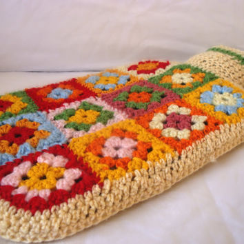 Hot Water Bottle Cover, Cosy, Granny Square Crochet - Ready to Ship