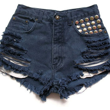 Vintage blue high waisted shorts XS by deathdiscolovesyou on Etsy