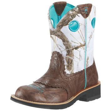 Ariat Fatbaby Cowgirl Brown Crinkle Snowflake Womens Western Boots