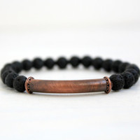 Mens Black Lava Oxidized Copper Tube Beaded Stretch Bracelet Tribal Bohemian Jewelry Gift for Him